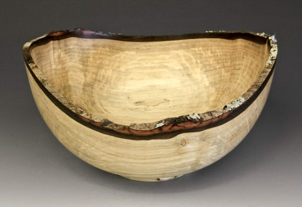 Jerry Kermode - Bigleaf Maple Natural Edge Bowl with Bark and Lichen