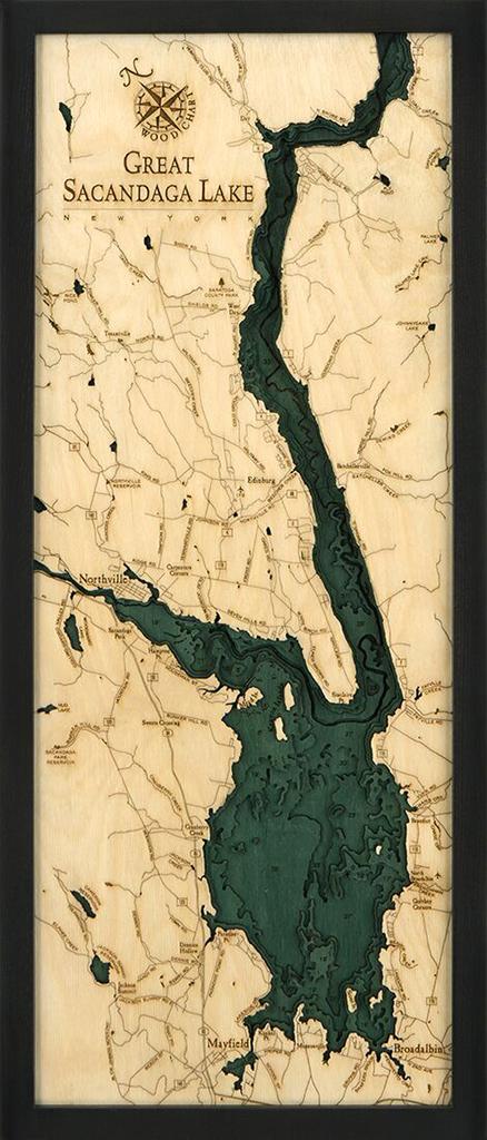 Bathymetric Map Great Sacandaga Lake, New York