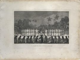 Cook Engraving - A Night Dance by Women in Hapaee