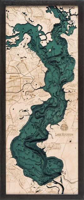 Bathymetric Map Lake Houston, Texas