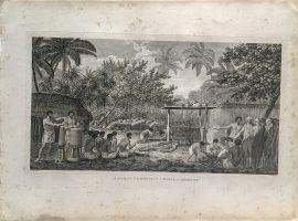 Cook Engraving - A Human Sacrifice in a Morai in Otaheite
