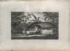 Cook Engraving - The Body of Tee A Chief as Preserved After Death In Otaheite