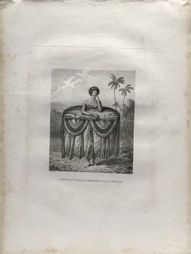 Cook Engraving - A Young Woman of Otaheite Bringing a Present