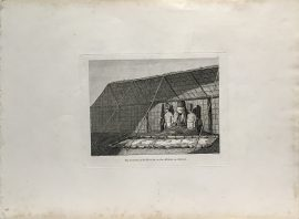 Cook Engraving - The Inside of a House in the Morai in Atooi