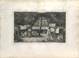 Cook Engraving - The Inside of a House in Oonalashka