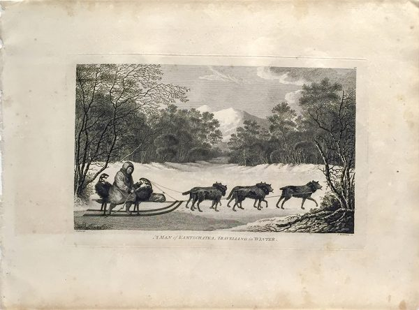 Cook Engraving - A Man of Kamtschataka Traveling in Winter
