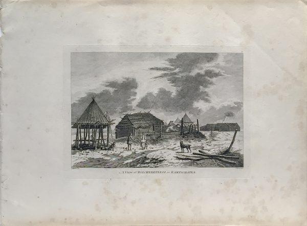 Cook Engraving - A View of Bolcheretzkoi in Kamtschataka