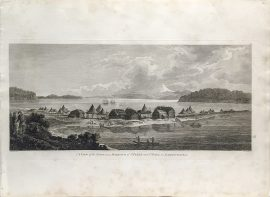 Cook Engraving - A View of the Town and Harbour of St. Peter and Paul, Kamtschataka