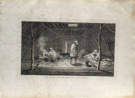 Cook Engraving - The Inside of a Winter Habitation in Kamtschataka