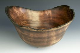 Jerry Kermode - Redwood Natural Edge Bowl with Nature Burnt Rim with 4 Stitches