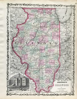 Antique Map - Illinois State Map (1862)