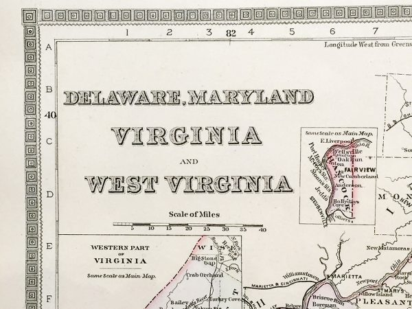 Delaware, Maryland, Virginia, and West Virginia State Map (1886)