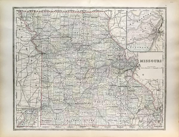 Antique Map - Missouri State Map (1886)