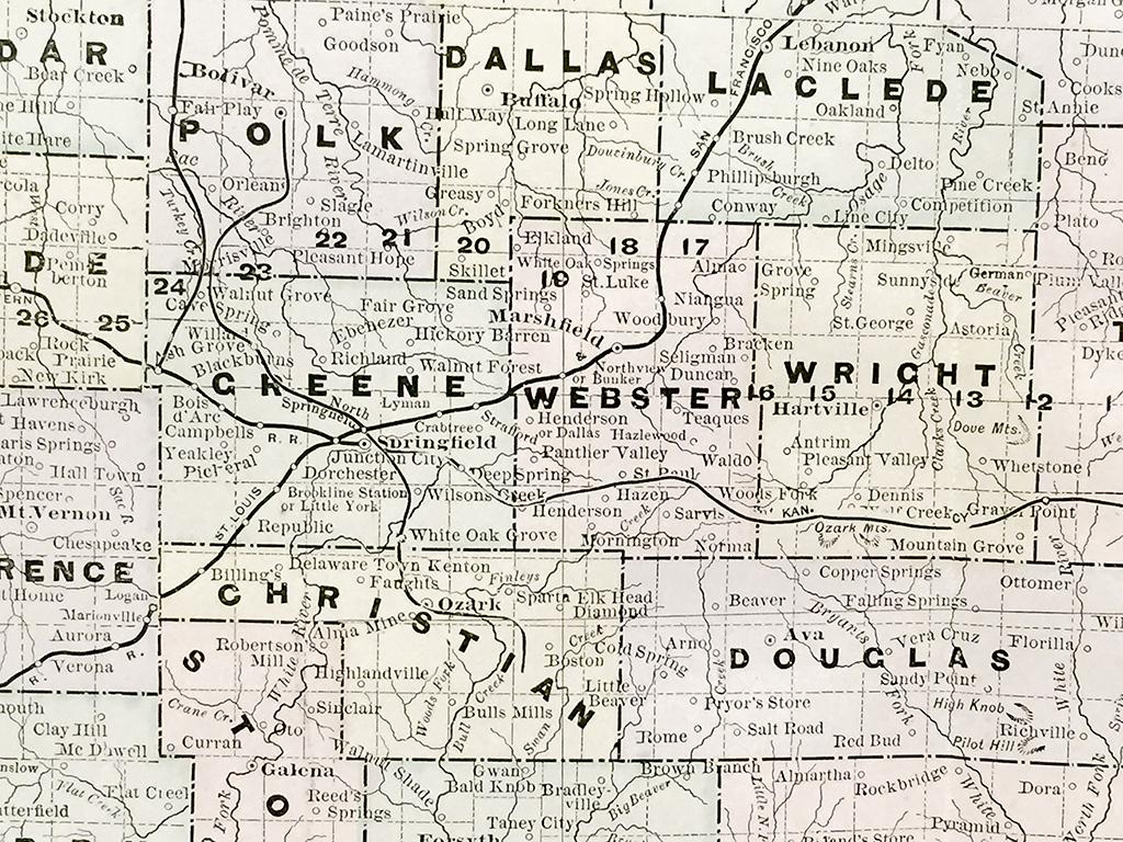 Antique Map - Missouri State Map (1886) - Scrimshaw Gallery