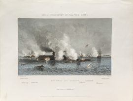 Antique Engraving - Naval Engagement in Hampton Roads (1878)