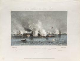 Antique Engraving - Naval Engagement in Hampton Roads (1878)