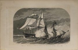 Antique Engraving - US Frigate St Lawrence Sinking the Petrel