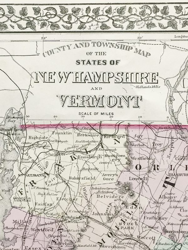 Vermont and New Hampshire State Map (1877)