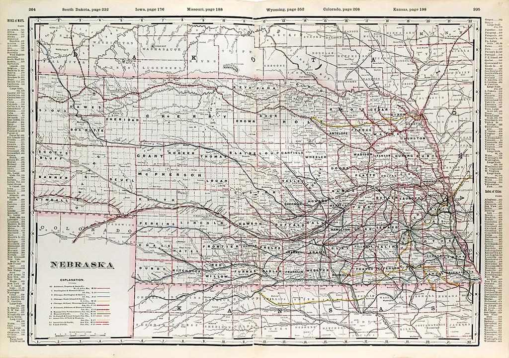 Nebraska State Railroad Map 1897 Scrimshaw Gallery