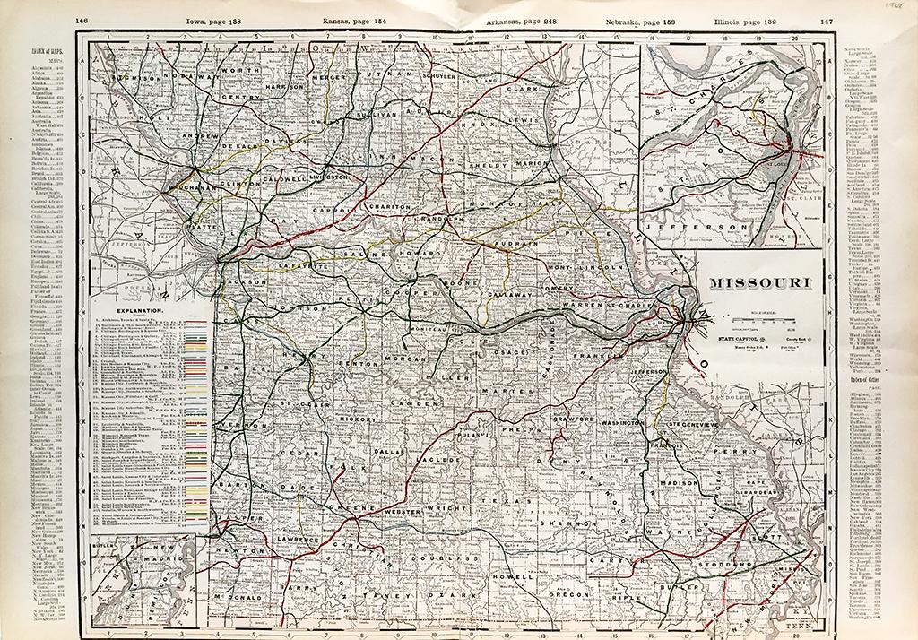 Missouri State Railroad Map 1928 Scrimshaw Gallery