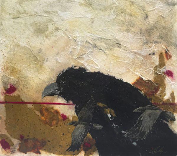 Beki Killorin Original Watercolor - Ravens on the Move