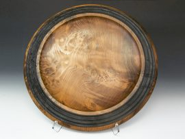 Jerry Kermode Wooden Bowl - Redwood Platter with Embellished Burnt Rim