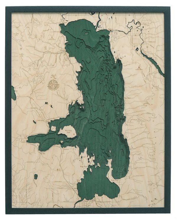 Bathymetric Map Flathead Lake, Montana