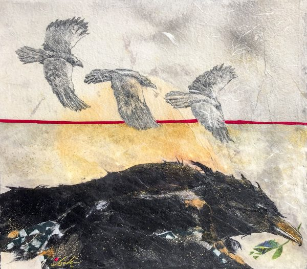 Beki Original Watercolor - Raven with Twig Original